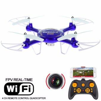 Drone ติดกล้อง WiFi พร้อมระบบถ่ายทอดสดแบบ Realtime(NEW มีระบบ กันหลงทิศ + ปุ่มบินกลับอัตโนมัติ)สีน้ำเงิน