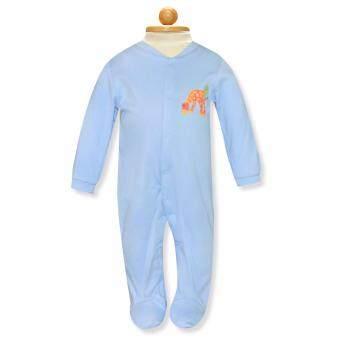 Babybrown ชุดหมี แขนยาว, ขายาวมีเท้าสีสีฟ้าอ่อนสำหรับเด็ก3-6เดือน