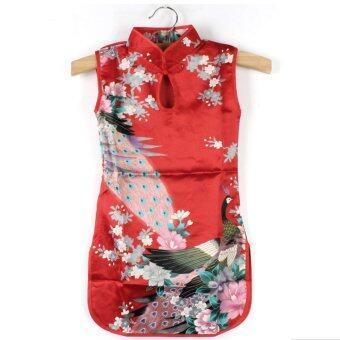 ชุดเด็กผู้หญิง ชุดกี่เพ้า ชุดจีน สีแดง เหมาะกับเด็ก 2-3 ขวบ