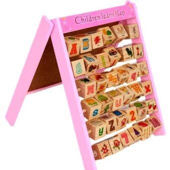 Kids Toys กระดานไม้เสริมทักษะ 2in1 (ด้านหน้าเป็นลูกคิดหัดอ่าน ด้านหลังกระดานไวท์บอร์ดแม่เหล็ก)