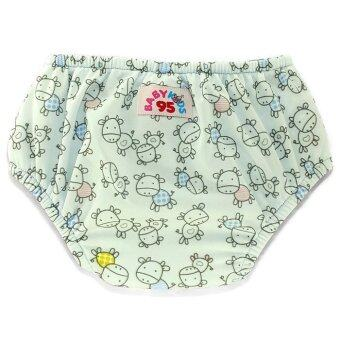 BABYKIDS95 กางเกงผ้าอ้อมว่ายน้ำ มีเป้าซับ เอวสวม สีฟ้าอ่อนลายวัว