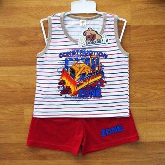 Baby Elegance เสื้อผ้า เด็กผู้ชาย เซ็ต 2 ชิ้น เสื้อกล้ามลายรถไถดิน กางเกงขาสั้น ไซส์ 9M