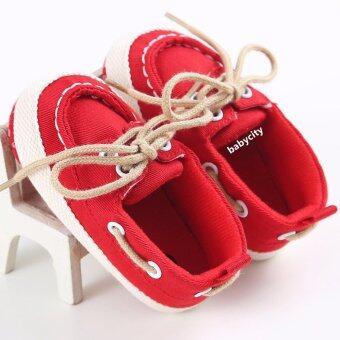 รองเท้าหัดเดิน รองเท้าเด็กอ่อน รองเท้าเด็กพื้นผ้า baby shoe Prewalker ของใช้เด็กอ่อน สีแดง