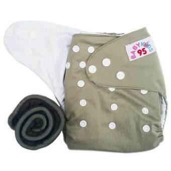 BABYKIDS95 กางเกงผ้าอ้อมกันน้ำ+แผ่นซับชาโคล Size:3-16กก. (Grey)