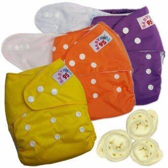 กางเกงผ้าอ้อมกันน้ำ+แผ่นซับไมโครฯ Size:3-16กก. เซ็ท3ตัว (Purple/Orange/Yellow)