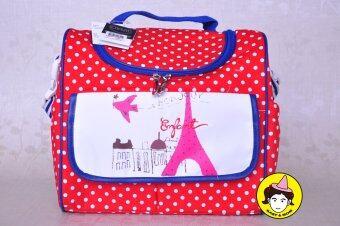 Enfant กระเป๋าสัมภาระสำหรับคุณแม่ หอไอเฟลลายจุดขาวพื้นแดง