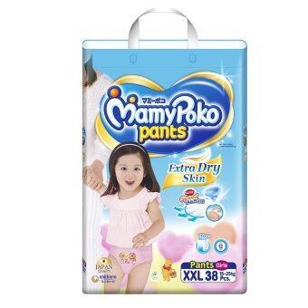 Mamy Poko กางเกงผ้าอ้อม รุ่น Extra Dry Skin ไซส์ XXL 38 ชิ้น (สำหรับเด็กหญิง)