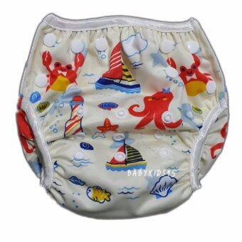 BABYKIDS95 Swim Nappy Digital Print ผ้าอ้อมว่ายน้ำ ลายดิจิตอล ปรับขนาดได้ สำหรับ เด็กแรกเกิด- 7 กก. (Boats-Light Yellow)