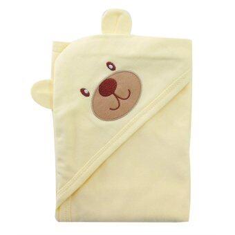 First-wear ผ้าห่อตัวเด็ก cotton 100% ลายหัวหมีน่ารัก (สีเหลือง)
