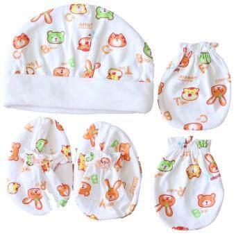 Attoon ชุด เด็กแรกเกิด เช็ท 3 ชิ้น หมวก ถุงมือ ถุงเท้า - หลากสี