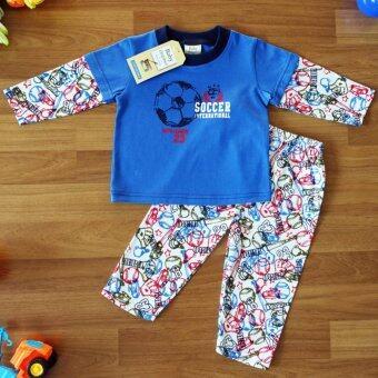 Baby Elegance ไซส์ 2 (6-12 เดือน) ชุดนอน เด็กผู้ชาย เซ็ต 2 ชิ้น เสื้อแขนยาวลายลูกฟุตบอล กางเกงขายาว