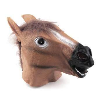 โอ้หัวม้าสวมหน้ากากสัตว์น้ำยางยัน Gangnam Style เล่นวันฮาโลวีนปาร์ตี้