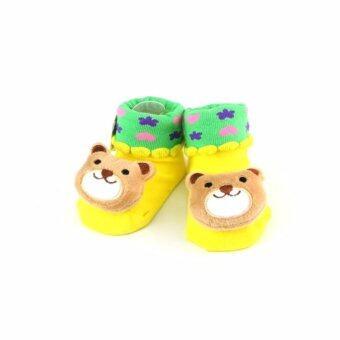 ถุงเท้าเด็ก หัวการ์ตูน มีปุ่มยางกันลื่น (สีเหลือง)