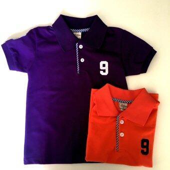 เสื้อโปโลเด็ก 1-3 ปี แพ็คประหยัด 2 ตัว สีม่วง& สีส้ม