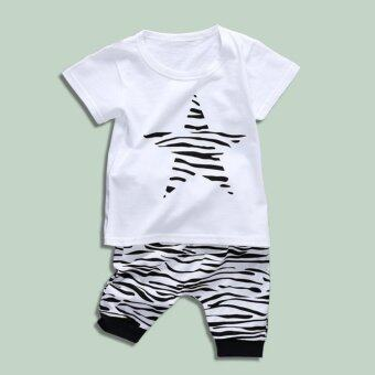 Harga Baby lily Bear Fashion Baby Boys Girls Star Casual Kids 2Pcs Summer Short Sleeve Top + Pant Clothing Set - intl