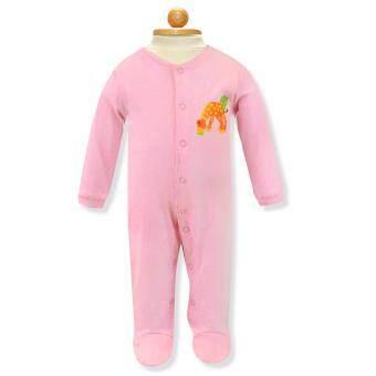 Babybrown ชุดหมี แขนยาว, ขายาวมีเท้าสีชมพูสำหรับเด็ก6-9เดือน