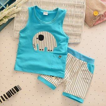 Harga 2pcs Kids Clothes Baby Boy Summer Clothes Set Tank Top + Striped Shorts Childrens Toddler Boy Clothing Set Baby Clothes for Boys Blue - intl