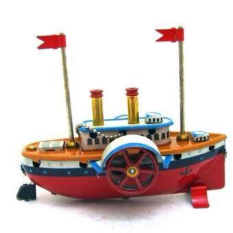 ของเล่นโบราณ ของเล่นสังกะสี ไขลาน MM-276 เรือเครื่องประดับคริสต์มาส(Red)