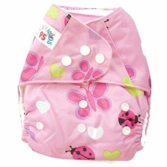 BABYKIDS95 กางเกงผ้าอ้อม กันน้ำ รุ่นดีลักส์ กระดุม3ล็อค ไซส์เด็ก3-16กก. (สีชมพูลายผีเสื้อ)