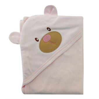 First-wear ผ้าห่อตัวเด็ก cotton 100% ลายหัวหมีน่ารัก (สีชมพู)