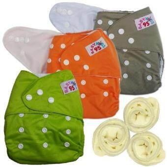 กางเกงผ้าอ้อมกันน้ำ+แผ่นซับไมโครฯ Size:3-16กก. เซ็ท3ตัว (Grey/Orange/Green)