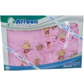 Attoon ชุดของขวัญ เสื้อผ้าเด็ก+ถุงมือถุงเท้าหมวก โบ แรกเกิด (สีชมพู)