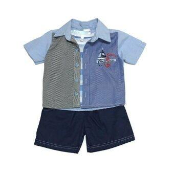 ฺBaby เซ็ทเสื้อผ้าเด็กชาย 3ชิ้น ( เสื้อเชิ๊ต+เสื้อกล้าม+กางเกง ) 2Tone