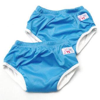 BABYKIDS95 กางเกงผ้าอ้อมแบบสวม รุ่นแบมบู กันน้ำ Size:L รอบเอว 16-22 นิ้ว เซ็ท 2 ตัว (สีน้ำเงิน)