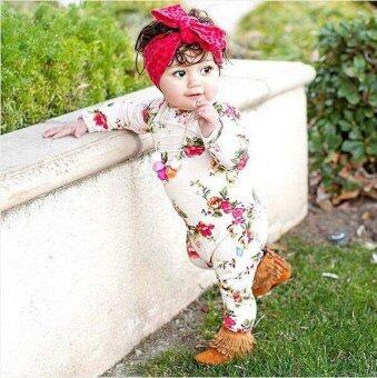 Harga Newest Fashion Baby Romper Suits Girls Cotton Long Sleeve Floral Romper Jumpsuit Outfits - intl