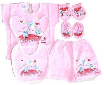 Attoon ชุดอุปกรณ์ เด็กแรกเกิด ผ้า Cottoon - สีชมพู