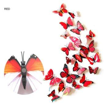 Harga 12pcs 3D Butterfly wall stickers home decor Sticker on the Art Wall decal Mural for creative vintage Home appliances kids rooms - intl