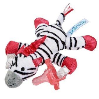 Dr.Brown'sจุกหลอกZebra Lovey with Pink One-Piece Pacifier(Red)