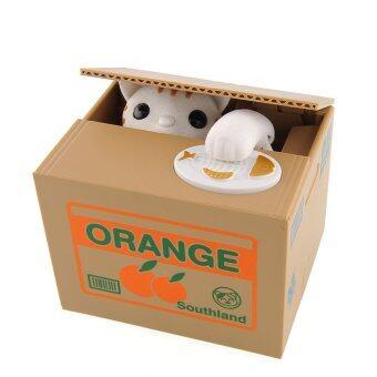 แมวขโมยเหรียญ ออมสิน ลายกล่องส้ม