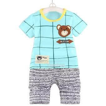 YeeShop ชุดเสื้อผ้าเด็กเข้าชุด ลายตารางหมี สีฟ้า #110(0-3years)