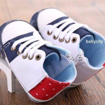 รองเท้าหัดเดิน รองเท้าเด็กอ่อน รองเท้าเด็กพื้นผ้า baby shoe Prewalker ของใช้เด็กอ่อน รองเท้าทารก รองเท้าเด็กเล็ก รองเท้าบูทเด็กอ่อน สีขาว