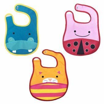ผ้ากันเปื้อนเด็กลายสัตว์ 3 ชิ้น (ลายฮิปโป + เต่าทอง + แมว)