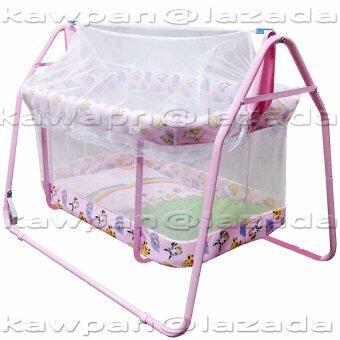 k.baby เปลไกวลายการ์ตูน + มุ้งกันยุงและแมลง (สีชมพู)