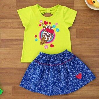 Baby Elegance เสื้อผ้า เด็กผู้หญิง เซ็ต 2 ชิ้น เสื้อแขนสั้น ลายไอศกรีม โบว์ติดหลัง กระโปรงผ้ายีนเทียม Winter โบว์ติดหลัง กระโปรงผ้ายีนเทียม ไซส์ 4