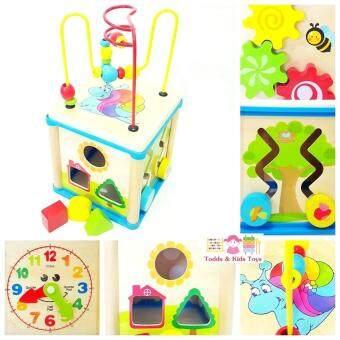 Todds & Kids Toys กล่องกิจกรรม 5 in 1 หยอดบล็อค ขดลวด รางเลื่อน