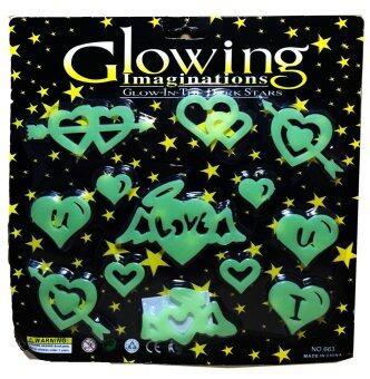 แผ่นติดผนังหรือเพดานเรืองแสงสำหรับเด็ก หัวใจเลิฟเลิฟ Glow in the Dark sticker for kids LOVE Heart