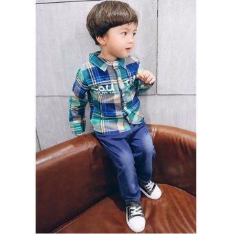 แฟชั่นเด็ก เสื้อเชิตและกางเกงยีนส์ Size120 (สีเขียว)