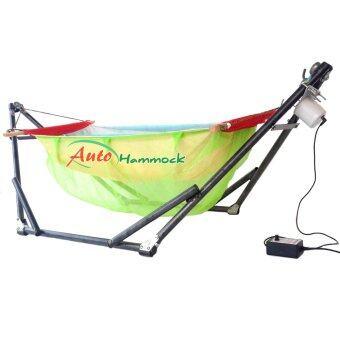 Auto Hammock เปลไกวเด็กอ่อนอัตโนมัติสไตล์เปลญวนกับผ้ามุ้ง (โทนเขียว)สีเหลือง