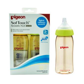 PIGEON ขวดนมพีเจ่นท์สีชาเสมือนการให้นมมารดา รุ่น PPSU ขนาด 240 มล.พร้อมจุก Softouch Peristatic Plus Size M Pack 6 ขวด