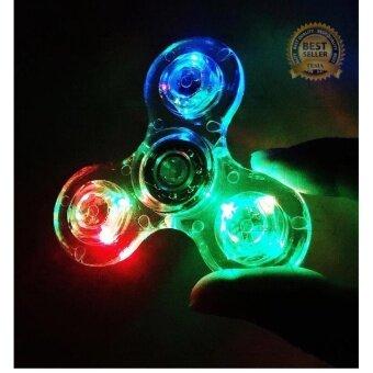LED สีใส Fidget Spinner finger gyro Tri-s Pinner อยู่ไม่สุขของเล่น