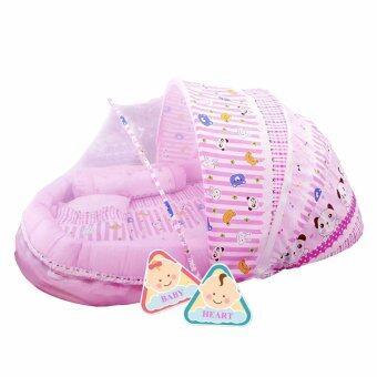 BABY heart ชุดที่นอนมุ้ง จัมโบ้รุ่น 2 in 1 พร้อมหมอนและ หมอนข้าง แพนด้าสีชมพู