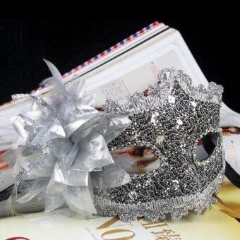 แฟชั่นการตกแต่งดอกไม้ดอกบัวคริสตัลเพชรเวนิสหน้ากากใบหน้าสีขาวสำหรับวันฮาโลวีน/งานแฟนซี/ปาร์ตี้แฟนซี (เงิน)