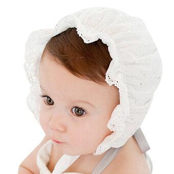 เด็กสาว ๆ สวมหมวกหมวกใหม่หมวกดาราลูกไม้ (ขาว)