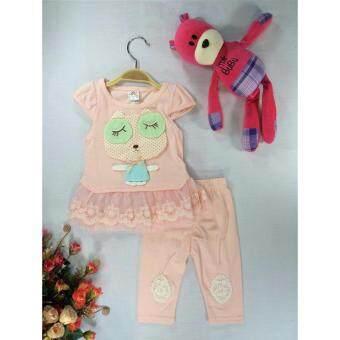 ple shop เสื้อลายการ์ตูนแต่งชายผ้าลูกไม้+กางเกงเลคกิ้ง สีชมพู