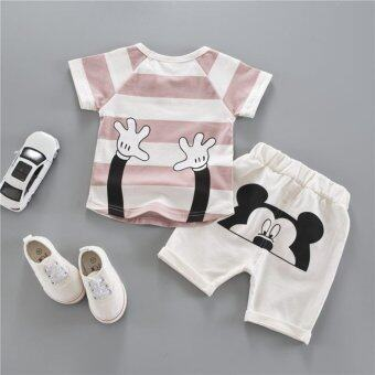 Harga Bear Fashion Baby Girls Boys Kids Children Cartoon Casual T-shirt + Trousers Summer Set - intl