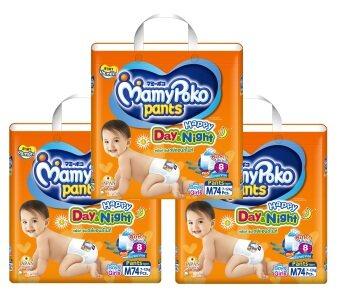ขายดี ขายยกลัง! Mamy Poko กางเกงผ้าอ้อม รุ่น Happy Day & Night ไซส์ M 74 ชิ้น 3 แพ็ค (รวม 222 ชิ้น) ขายถูก